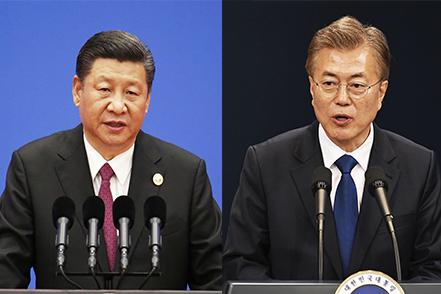 星期四(7月6日),韓國新任總統文在寅與中國領導人習近平在德國G20會議期間、進行了首次會晤。(大紀元合成圖)
