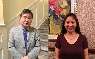 現任市議員顧雅明(左)和挑戰者譚夕婁(Alison Tan,右)。 (大紀元資料圖片)