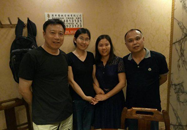 """为纪念""""709案""""两周年,维权律师余文生和妻子许艳一同去看望王宇、包龙军一家人。(知情人提供)"""