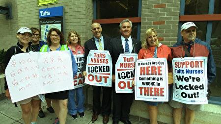 麻州众议员布鲁斯•艾耶尔(右三,Bruce J.Ayers),和参选波士顿第二区市议员的爱德华.福林(右四,Edward Flynn)也来支持护士罢工。(黄剑宇/大纪元)