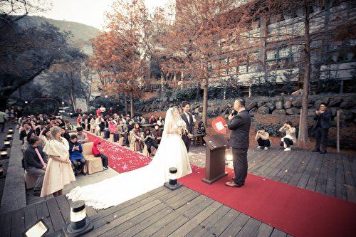 新人婚禮的浪漫地點。(竹美山閣提供)