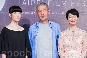 第19届台北电影奖评审团主席田壮壮(中)、评审陈珊妮(左)、惠英红(右)7月7日出席记者会。(陈柏州/大纪元)