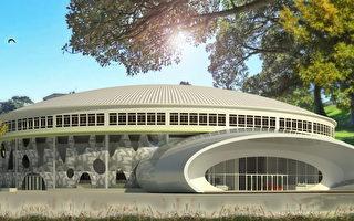 鳳山體育館動工整修,預計107年3月完工,新改建後模擬圖。(高雄市工務局新工處提供)