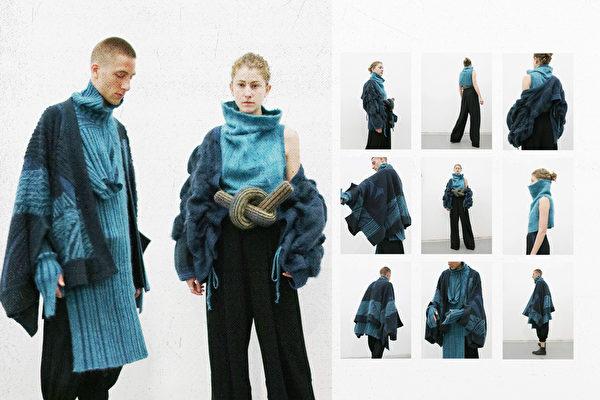 來自台灣、就讀於英國皇家藝術學院的高元龍日前參加義大利毛衣設計新秀大賽「感覺紗」(Feel The Yarn),以「The Mix」系列作品獲得首獎。(高元龍提供)