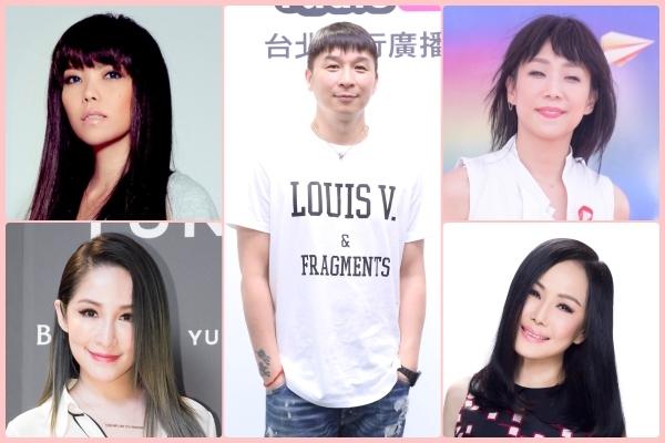 陈镇川(中)笑谈与林忆莲(右上)、张惠妹(左上)、萧亚轩(左下)及江蕙(右下)四大天后的相处之道。(POP Radio/大纪元合成)