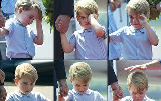 英国威廉王子和妻子凯特19日开始为期3天的德国访问行程。图为随爸妈访柏林的乔治小王子。(STEFFI LOOS/AFP)