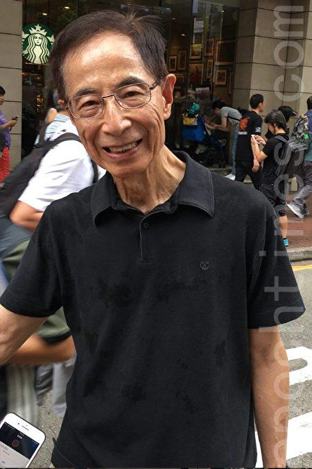 民主黨創黨主席李柱銘參與七一遊行。(李小朗/大紀元)