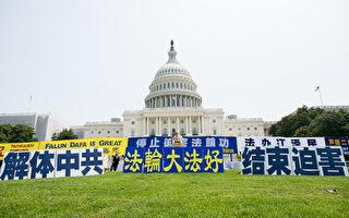 7月20日,美國東部部分法輪功學員在首都國會山舉行大型集會,呼籲制止已持續十八年的中共對法輪功的迫害。(李莎/大紀元)