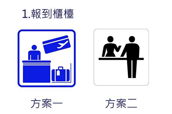 桃園機場將更換航廈指標,並於8月1~25日供民眾上網投票。方案一元素較多,距離稍遠難辨識,方案二可能被誤認為是詢問處。(桃機公司/提供)