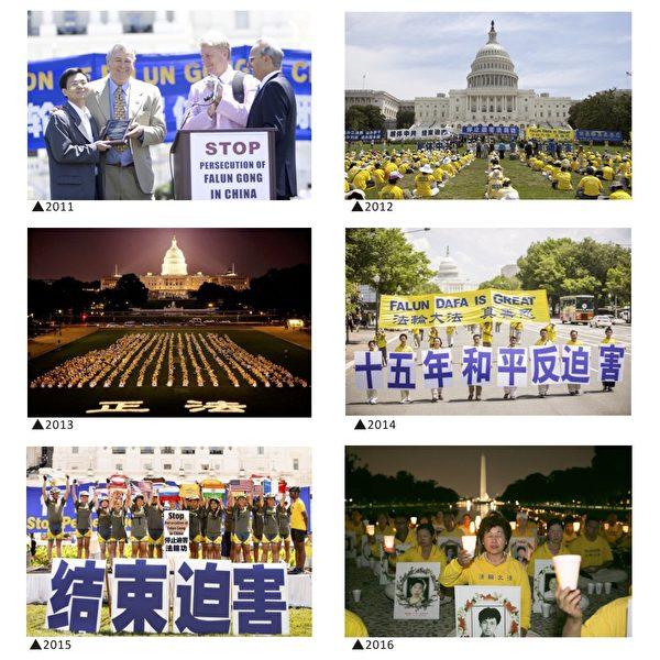 从1999年起,每年的7月20日前后,法轮功学员都会在华府举办反迫害活动。(大纪元制图)