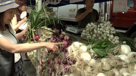 民众在绿色市场上购买新鲜、有机的蔬果。
