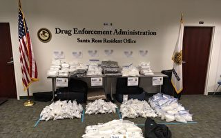 美国警方在加利福尼亚缴获的255公斤冰毒,如果运入澳洲,市值高达2.55亿澳元。(澳洲联邦警察提供)