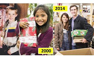 左:2000年的菲律宾少女乔安娜怀抱美国少年泰里尔的慈善礼包;右:二人把婚礼后把收到的慈善礼包送到慈善组织。(大纪元合成)