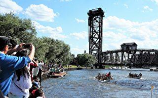 參賽隊伍在芝加哥河上奮力競舟,觀眾在旁爭相拍照。(溫文清/大紀元)