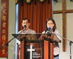 凤凰豆腐老板杨国珍(右)介绍说,SSA经费给她居住的Edgewater社区带来很多福利,华埠更好团结联盟主席陈增华(左)进行广东话翻译。(唐明镜/大纪元)