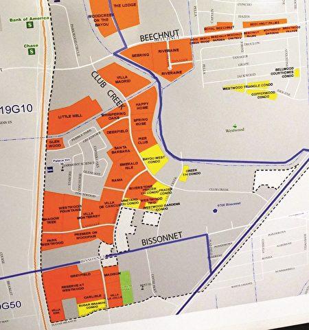 位于Beechnut与Bissonnet之间的Club Creek路两边密集的公寓(橘色)和连体屋(Condo, 黄色)。(西南管理区提供)