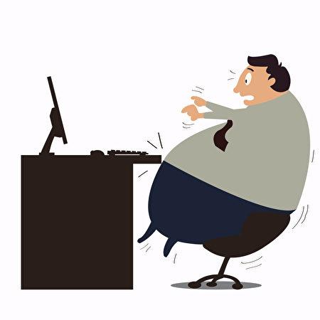 美国哈佛公共卫生学院的研究表明,体重增加会影响健康,即使轻微增加也会提高罹患慢性病的风险。图为一名在工作的胖子。(Fotolia)