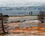 在西拇指间歇泉盆地(West Thumb Geyser Basin)湖边漫步。(Photo credit should read MARK RALSTON/AFP/Getty Images)