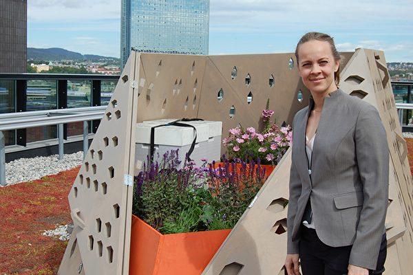 挪威奧斯陸的會計師、業余養蜂人Marie Skjelbred展示她的蜂巢,這個看起來很酷的蜂巢屬於「蜜蜂高速公路」項目,這裡面生活著4.5萬只工蜂。此圖攝於2015年。(Pierre-Henry DESHAYES/AFP/Getty Images)