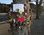 2016年10月,一位19歲的德國弗萊堡女大學生被一名16歲的阿富汗難民姦殺。圖為兩個月後,人們在事發地點附近樹上留下的悼念紙條和鮮花。紙條上用德文寫著:「我們很悲傷,很痛心!衷心哀悼!」(Sean Gallup/Getty Images)