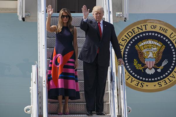 7月6日,川普总统和第一夫人离开华沙,抵达德国汉堡。(Photo by Morris MacMatzen/Getty Images)