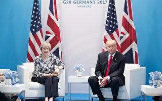 一名英國政府官員表示,在週六舉行的一對一對話中,川普和梅同意將貿易協定作為他們的首要工作。(Matt Cardy/Getty Images)