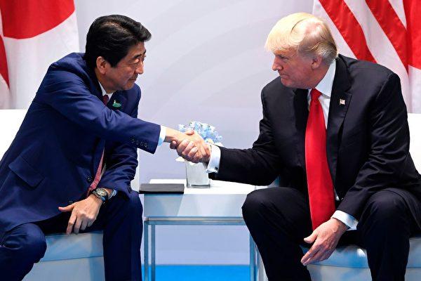 週六(7月8日),美國總統川普跟日本首相安倍晉三展開雙邊會談,而在G20前一天,他們也跟韓國一起展開三邊會談。(SAUL LOEB/AFP/Getty Images)