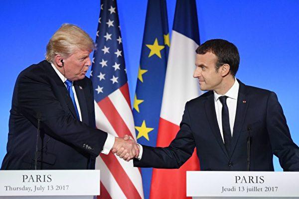 周四(7月13日),到访法国的美国总统川普(特朗普)和法国总统马克龙召开联合记者招待会。(ALAIN JOCARD/AFP/Getty Images)