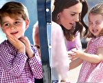 出访结束,即将离开德国,乔治王子开心露迷人笑容,夏洛特公主恋恋不舍发脾气。(Chris Jackson/Getty Images/大纪元合成)