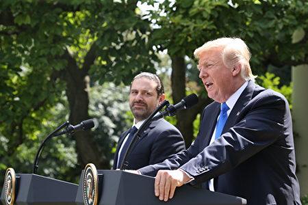 7月25日,美国总统川普与到访的黎巴嫩总理哈里里在白宫会面后,举行联合新闻发布会。(TASOS KATOPODIS/AFP/Getty Images)