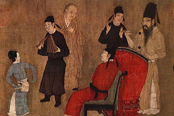 《韩熙载夜宴图》局部,五代十国南唐画家顾闳中的作品,12世纪临摹本。(公有领域)