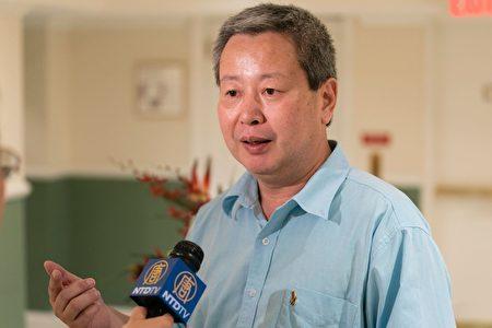 """美国加图研究所客座研究员夏业良教授表示,在中国不靠法治靠党治,""""党或权力是凌驾于法律之上的。""""(石青云/大纪元)"""
