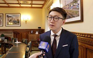 香港民主前线发言人梁天琦2017年7月3日在英国国会大厦内接受英国新唐人和大纪元记者联合专访。(新唐人视频截图)