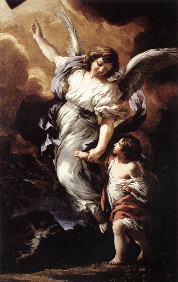 意大利画家皮埃特罗·达·科尔托纳(Pietro da Cortona)笔下的守护天使。(公有领域)