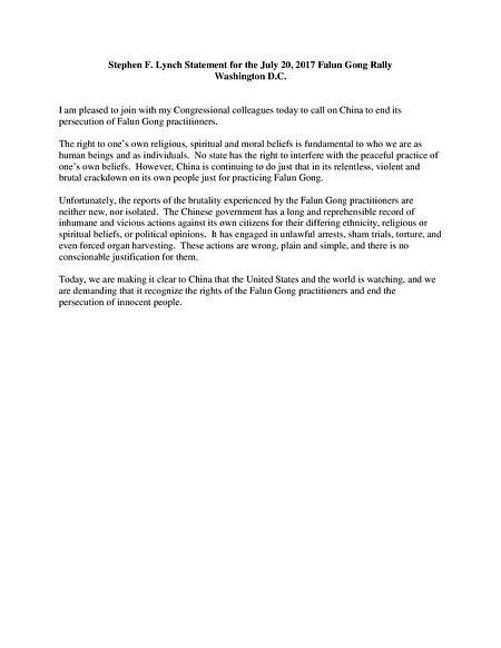 国会议员史蒂芬·林奇(Stephen Lynch)的支持信。(大纪元)