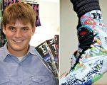 17岁的布伦南‧阿格兰诺夫四年前创办了专做个性运动袜的Hoopswagg公司。(脸书图片/大纪元合成)