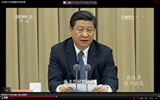 图为习近平在2014年1月7的政法工作会议上讲话。(视频截图)