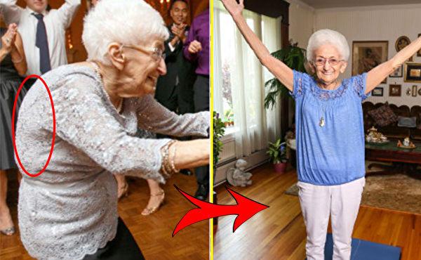 外国88岁老太太练瑜伽,奇迹般地治好了几十年的驼背!(大纪元合成)