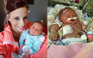 美國愛荷華州小女嬰出生第7天被感染皰疹,誘發腦膜炎,只活了18天離世。她死後,媽媽發出強烈呼籲:別讓人親吻你的新生寶貝。(臉書/大紀元合成)