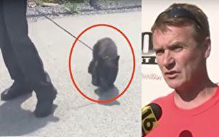 男子发现高速公路上巡警在遛狗,走近后他惊呆了!而他之后的举动让人称赞。(视频截图/大纪元合成)
