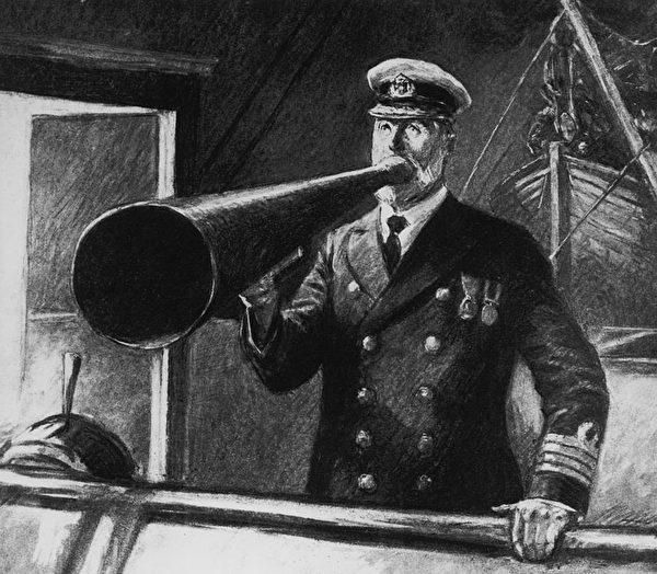 船長愛德華·史密斯在最後的時刻下命令。作畫者道格拉斯·麥克弗森(Douglas Maspherson)。 (Hulton Archive/Getty Images)