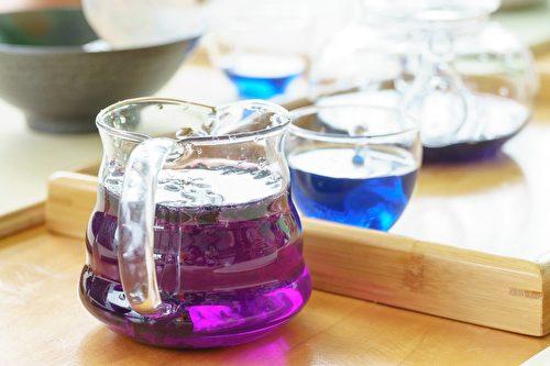 黑枸杞的花青素在鹼性水沖泡呈藍色,酸性水呈紫色。(宇海國際提供)