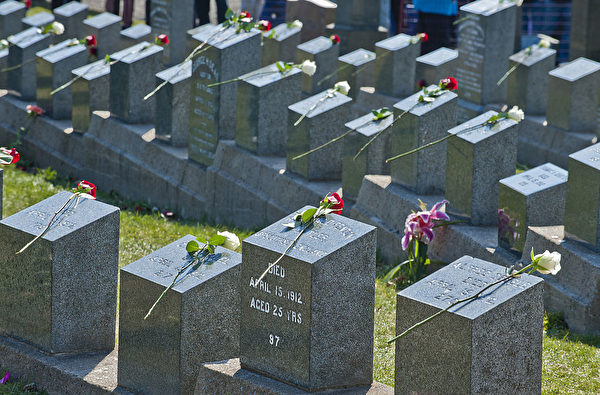 在哈利法克斯(Halifax)的Fairview Lawn Cemetery里,安葬著121名铁达尼号的遇难者。 (ROGERIO BARBOSA/AFP/Getty Images)