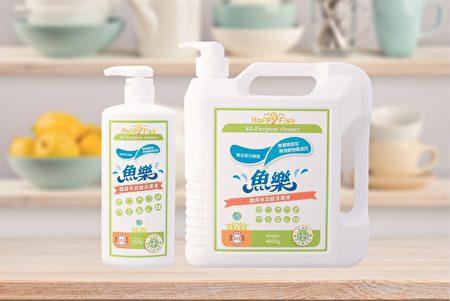 魚樂多功能洗潔液,不含石化原料,潔淨去汙效果好,洗後不殘留。(紀元國際提供)