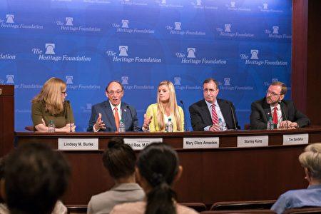 华府智库传统基金会在7月25日举办一场关于美国大学限制学生言论自由的讨论会。 (石青云/大纪元)