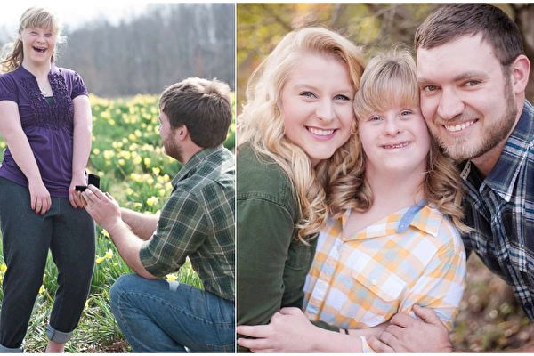 """""""我们三个人会一起走红毯。""""准新娘艾希莉透露,妹妹不止是当伴娘,而是要兑现做新郎""""最好妹妹""""的誓约。(Bret & Brandie Photography,Facebook: Ashley Schaus/大纪元合成)"""