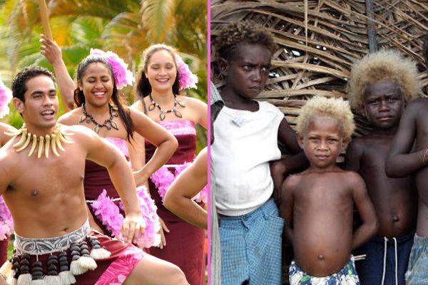 斯普利格斯教授认为,波利尼西亚人(左)和美拉尼西亚人(右)的不同只是在于他们亚洲血统和巴布亚血统的比例不同。(大纪元合成)