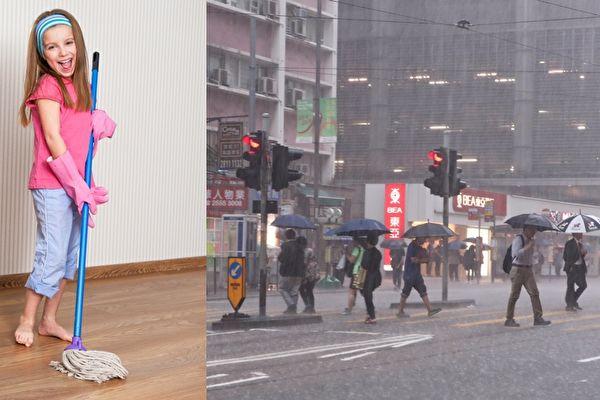 陰雨天氣拖地,一個小妙招讓地板快乾又滅菌。(Pixabay、潘在殊/大紀元)