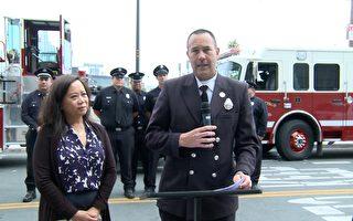 舊金山消防局發言人Jonathan Baxter提醒民眾為了安全,獨立日期間不要非法燃放煙花爆竹。(大紀元)