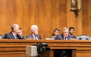 美国参议院边防安全和移民小组委员会主席科宁(中)、副主席德宾(右)在7月12日召开听证会,强调美国政府要重视签证逾期居留问题,保护美国的边境安全。(石青云/大纪元)